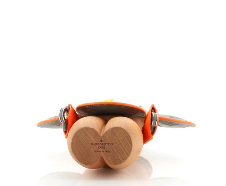 Louis Vuitton NEW Orange Gray Monogram Figurine Decorative Bear Toy in Box In New Condition For Sale In Chicago, IL