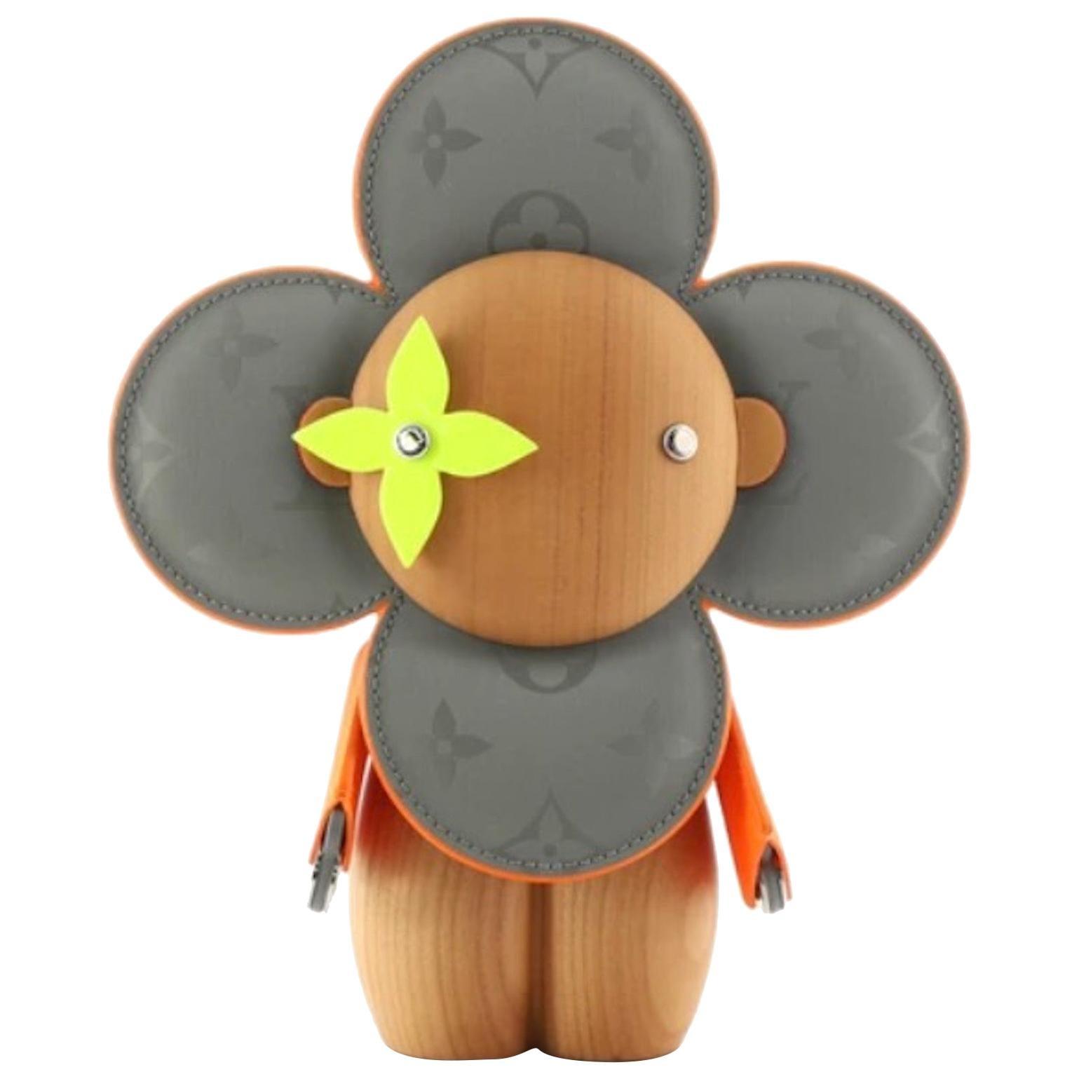 Louis Vuitton NEW Orange Gray Monogram Figurine Decorative Bear Toy in Box