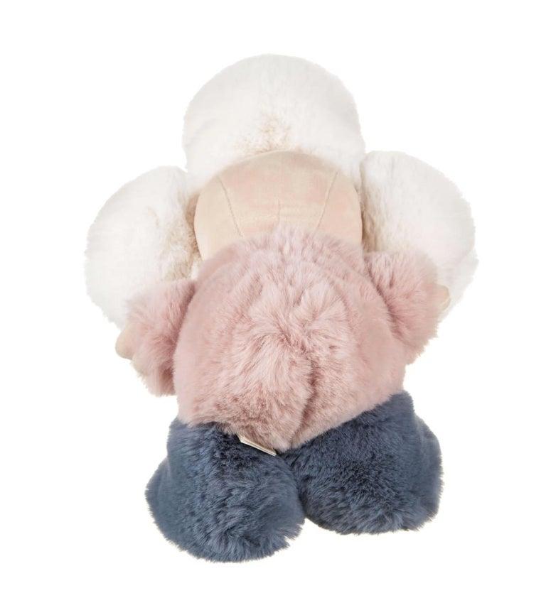 Beige Louis Vuitton NEW Pink Blue White Monogram Figurine Decorative Bear Toy in Box For Sale