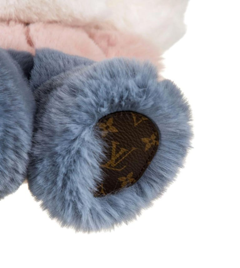 Louis Vuitton NEW Pink Blue White Monogram Figurine Decorative Bear Toy in Box In New Condition For Sale In Chicago, IL