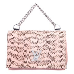 Louis Vuitton NEW Pink Leather Snakeskin Exotic Top Handle Satchel Shoulder Bag