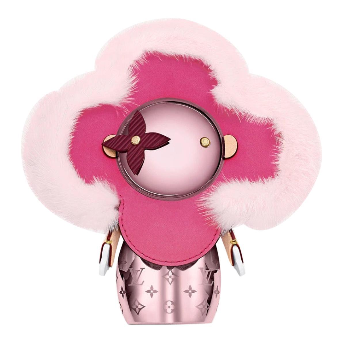 Louis Vuitton NEW Pink Metal Mink Fur Figurine Decorative Bear Toy in Box
