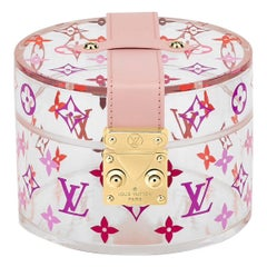 Louis Vuitton NEW Pink Monogram Plexi Leather Vanity Jewelry Trinket Box
