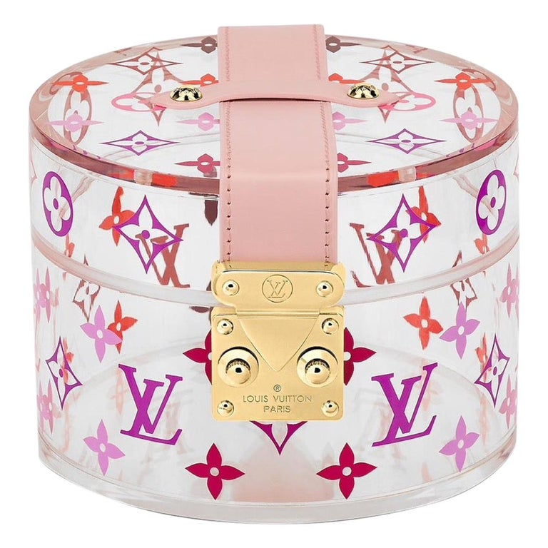 Louis Vuitton NEW Pink Monogram Plexi Leather Vanity Jewelry Trinket Box For Sale