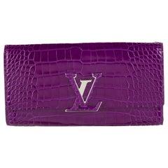 Louis Vuitton NEW Purple Crocodile Exotic Logo Charm Evening Clutch Wallet W/Box