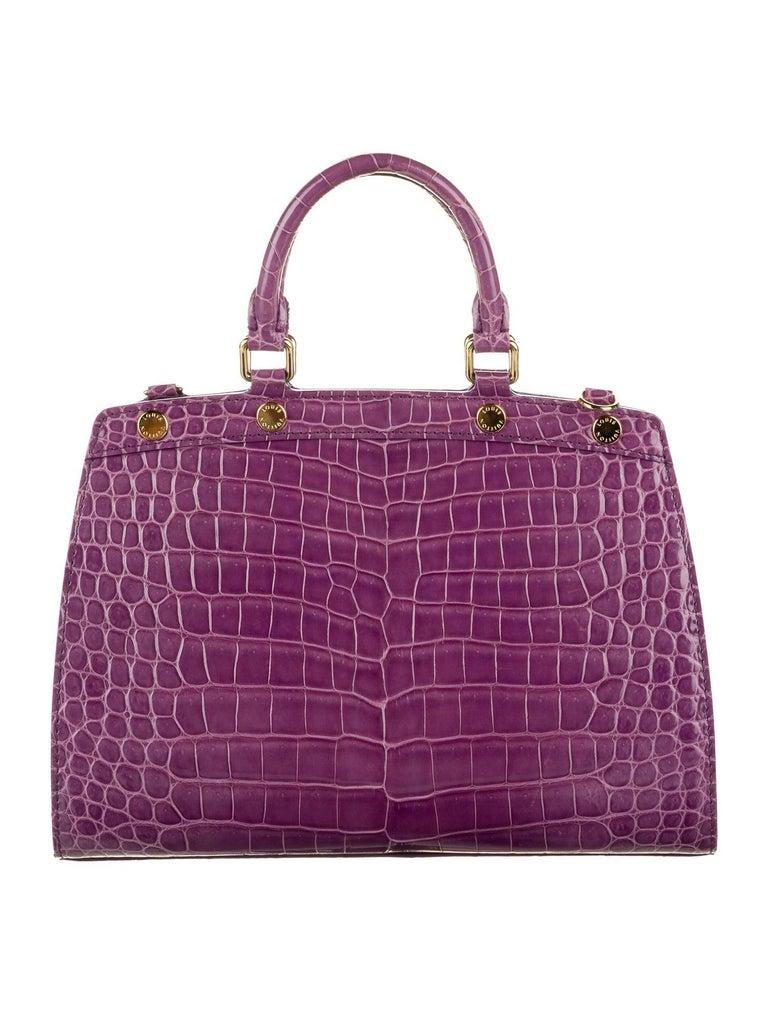 Gray Louis Vuitton NEW Purple Crocodile Exotic Top Handle Satchel Shoulder Tote Bag For Sale