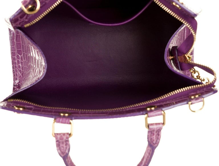 Louis Vuitton NEW Purple Crocodile Exotic Top Handle Satchel Shoulder Tote Bag In New Condition For Sale In Chicago, IL