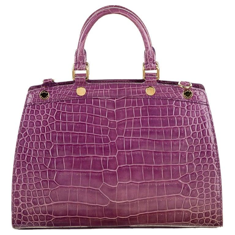 Louis Vuitton NEW Purple Crocodile Exotic Top Handle Satchel Shoulder Tote Bag For Sale