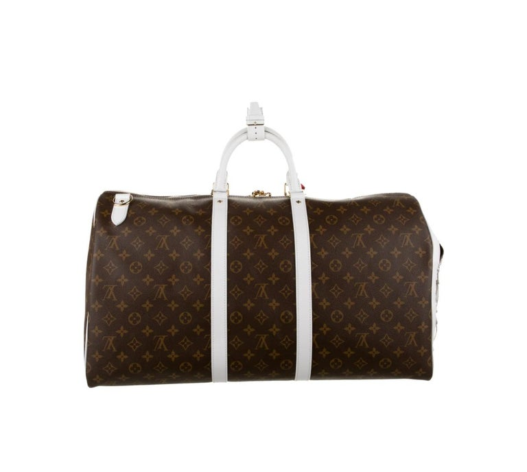Black Louis Vuitton NEW Rare Monogram Men's Women's Carryall Travel Weekend Duffle Bag For Sale