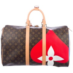 Louis Vuitton NEW Red Blue Mono Men's Carryall Travel Weekender Duffle Bag W/Box