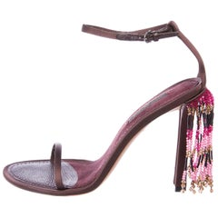 Louis Vuitton NEW Satin Pink Purple Bead Shingle Evening Sandals Heels Shoes