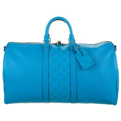 Louis Vuitton NEW Teal Blue Men's Women's Carryall Travel Weekender Duffle Bag