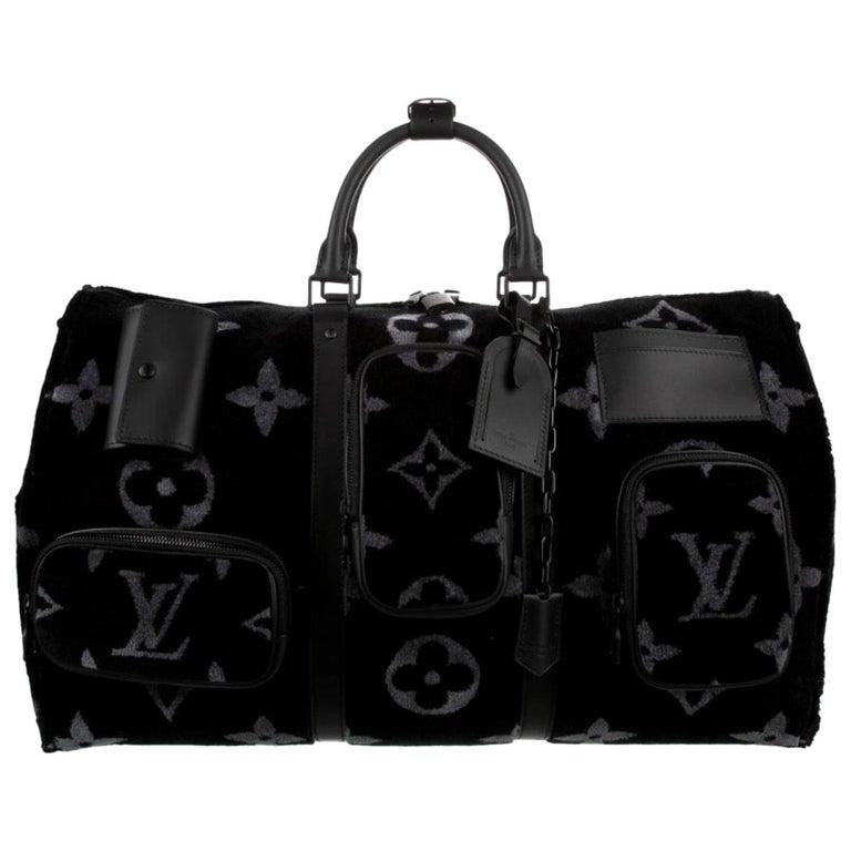 Louis Vuitton NEW Virgil Black SilverTravel Weekender Men's Women's Duffle Bag For Sale