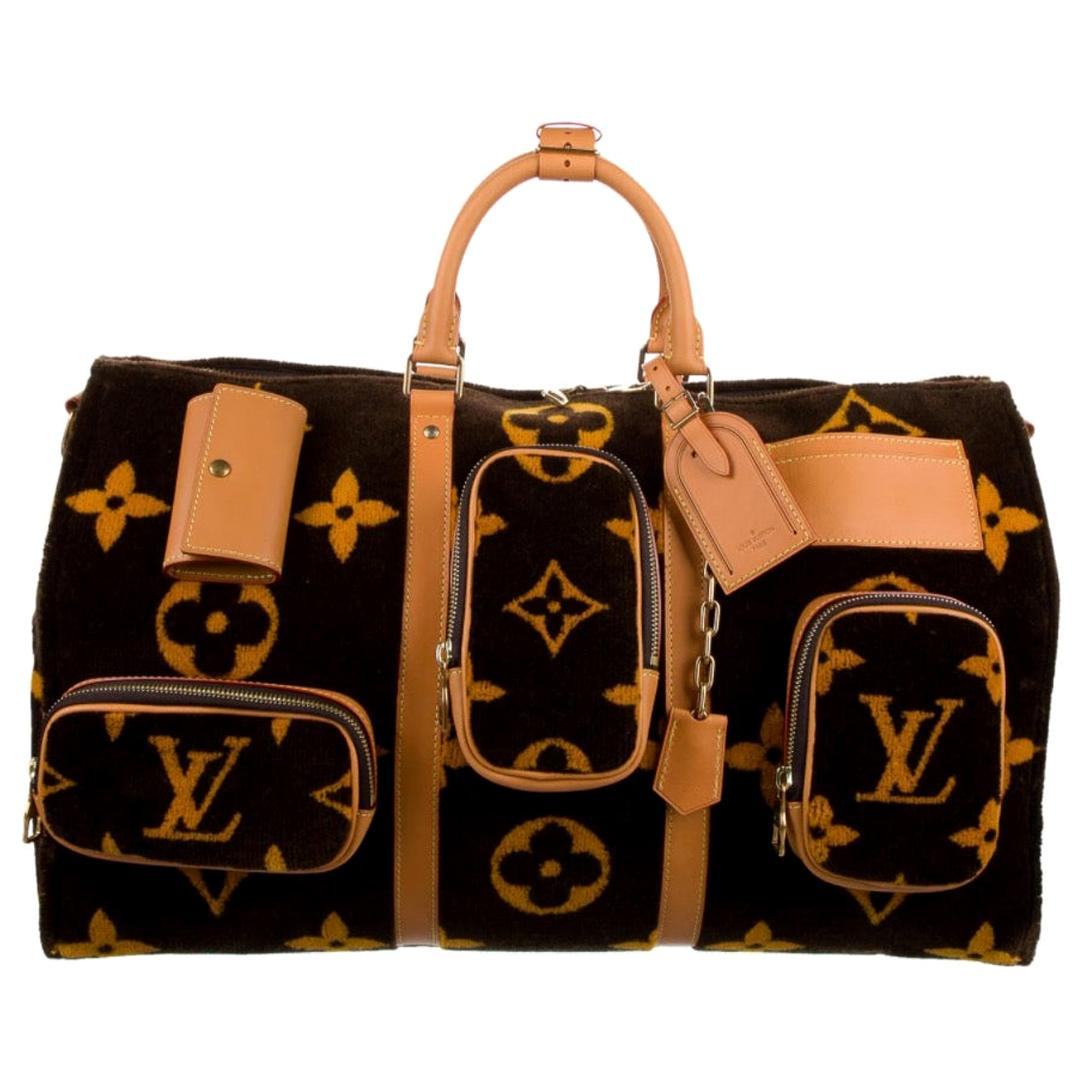 Louis Vuitton NEW Virgil Brown Gold Travel Weekender Men's Women's Duffle Bag