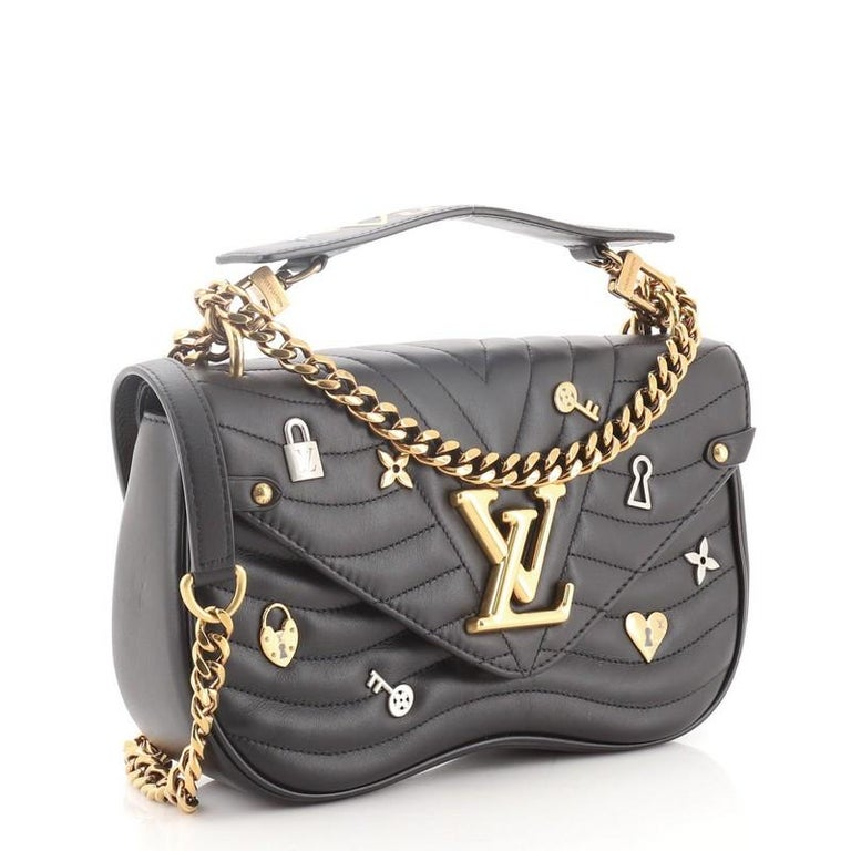 Black Louis Vuitton New Wave Chain Bag Limited Edition Love Lock Quilted Leather MM For Sale