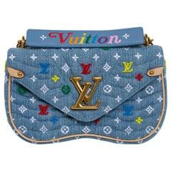 Louis Vuitton New Wave Chain Shoulder Bag Embroidered Monogram Denim New