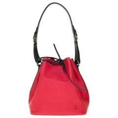 Louis Vuitton Noé PM shoulder bag in red & black epi leather, gold hardware
