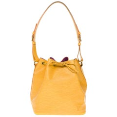 Louis Vuitton Noé PM shoulder bag in Yellow épi leather, gold hardware