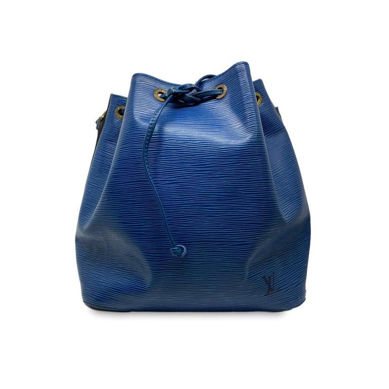 Women's or Men's Louis Vuitton Noe PM Toledo Blue EPI Leather Bucket Bag, France 1992.