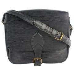 Louis Vuitton Noir Cartouchiere 9lz1220 Black Leather Cross Body Bag