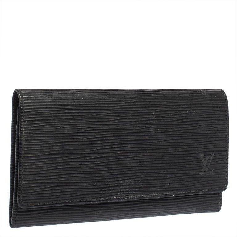 Black Louis Vuitton Noir Epi Leather Flap Wallet For Sale