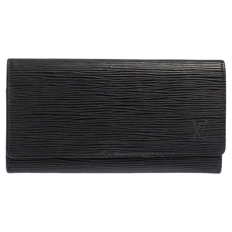 Louis Vuitton Noir Epi Leather Flap Wallet For Sale