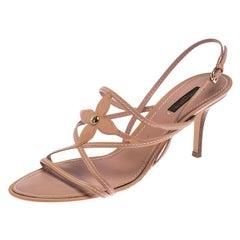 Louis Vuitton Nude Beige Vernis Fleur Strappy Sandals SIze 40.5