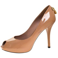 Louis Vuitton Nude Patent Leather Oh Really! Peep Toe Platform Pumps Size 38