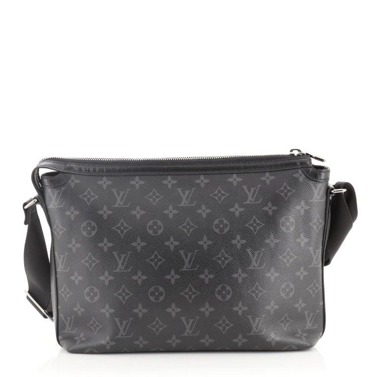 Louis Vuitton Graphite Monogram Odyssey Messenger with silver-tone hardware, exterior zipper pocket, two slip pocket and zipper closure.  Height 10