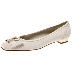 Louis Vuitton Off-White Canvas Love Logo Ballet Flats Size 39