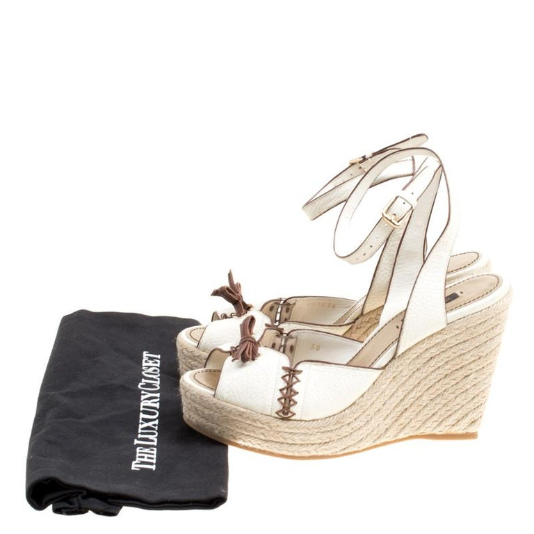 bab8b5d3b5cc Louis Vuitton Off White Leather Ankle Strap Espadrilles Wedge Sandals Size  38 For Sale 4