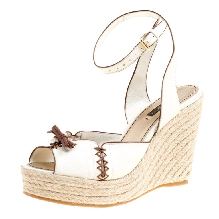 7026cf419f7 Louis Vuitton Off White Leather Ankle Strap Espadrilles Wedge Sandals Size  38 For Sale