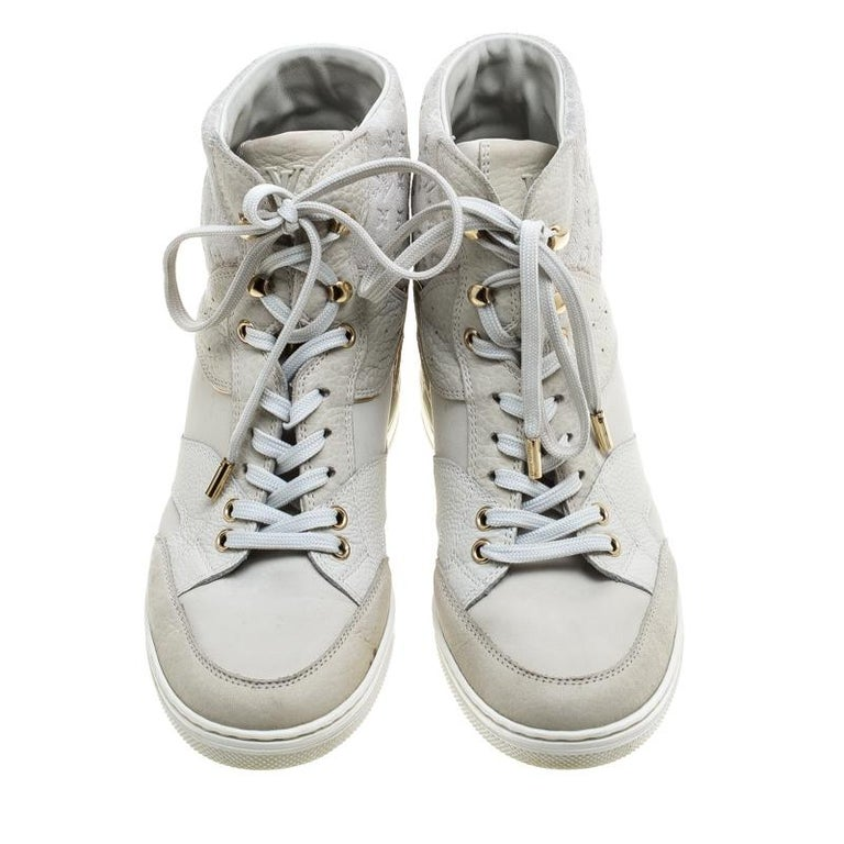 00d4ee22990 Louis Vuitton Off White Monogram Suede and Leather Cliff Top Sneakers Size  37