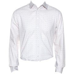 Louis Vuitton Off White Printed Cotton Long Sleeve Shirt M
