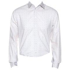 Louis Vuitton Off White Printed Cotton Long Sleeve Shirt M