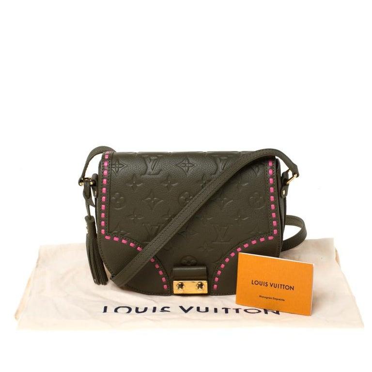 Louis Vuitton Olive Green Monogram Empreinte Leather Junot Shoulder Bag For Sale 7