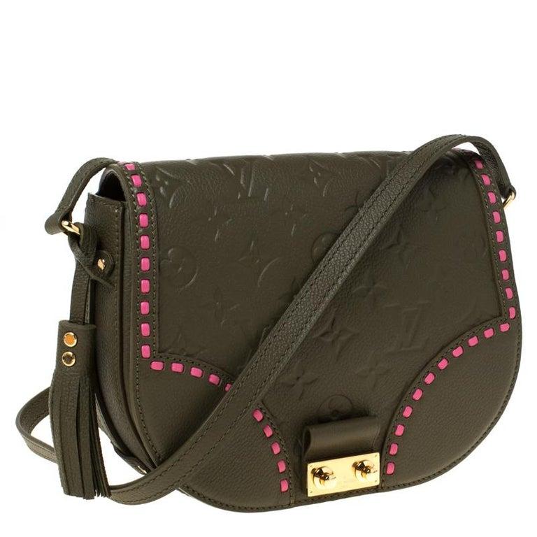 Black Louis Vuitton Olive Green Monogram Empreinte Leather Junot Shoulder Bag For Sale