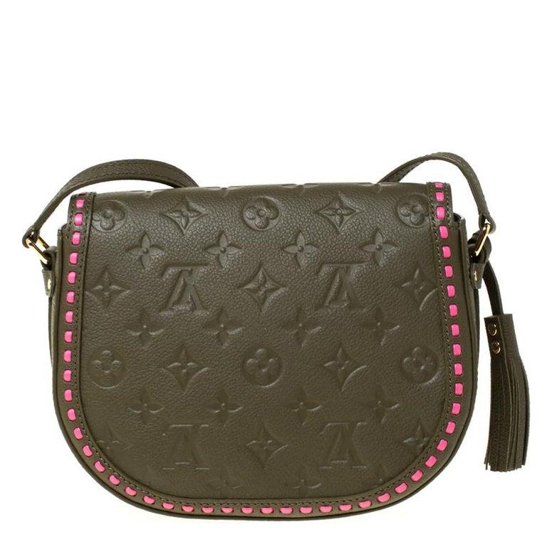 Louis Vuitton Olive Green Monogram Empreinte Leather Junot Shoulder Bag For Sale 2