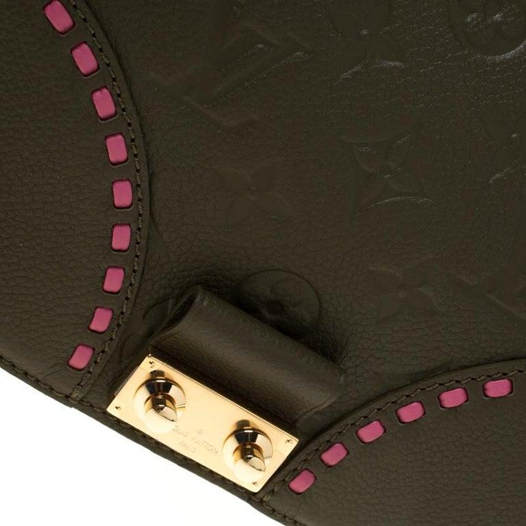 Louis Vuitton Olive Green Monogram Empreinte Leather Junot Shoulder Bag For Sale 3