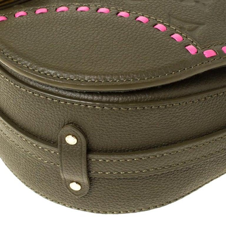 Louis Vuitton Olive Green Monogram Empreinte Leather Junot Shoulder Bag For Sale 4
