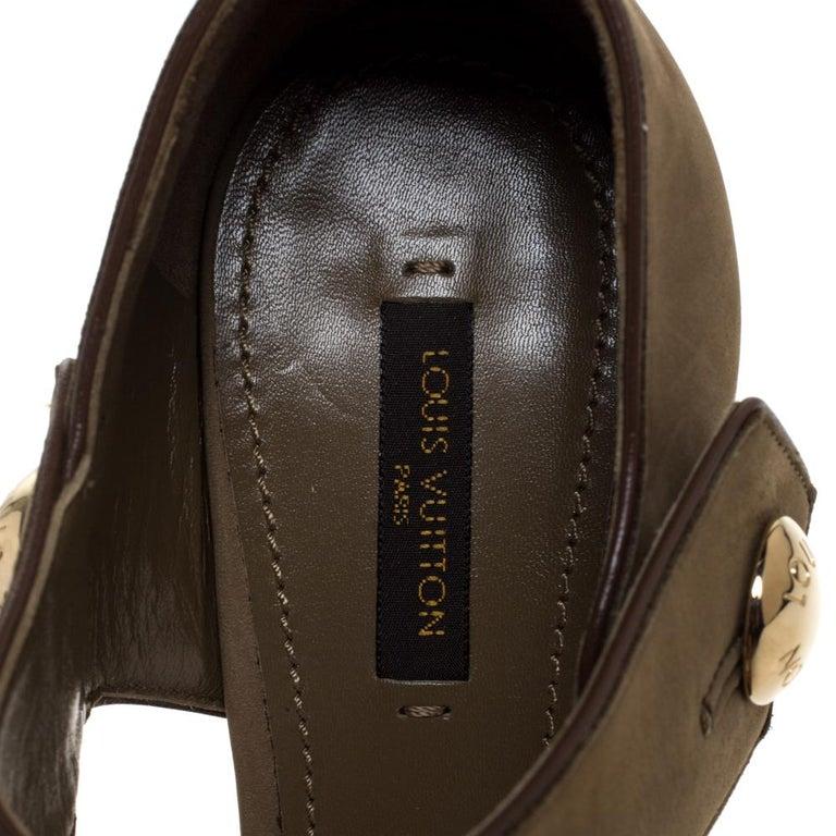 Women's Louis Vuitton Olive Green Nubuck Leather Peep Toe Platform Sandals Size 40 For Sale