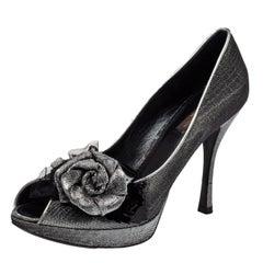 Louis Vuitton Ombre Black/Silver Shimmery Lurex  Floral Peep Toe Pumps Size 37.5