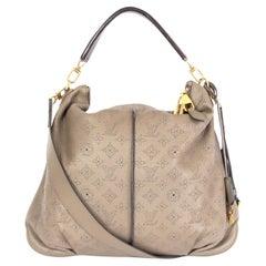 LOUIS VUITTON Ombre taupe Mahina leather SELENE MM Shoulder Bag