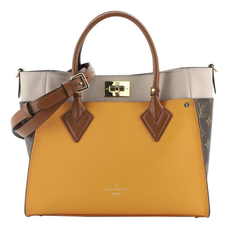 Louis Vuitton On My Side Tote Leather with Monogram Canvas For Sale
