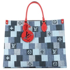 Louis Vuitton OnTheGo Tote Damier and Monogram Patchwork Denim GM