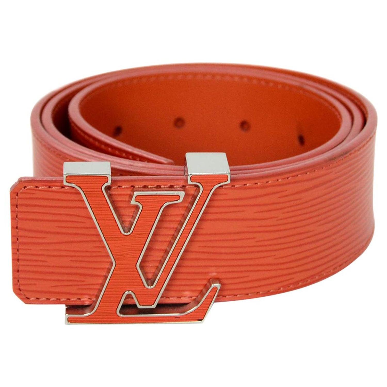 083a0e7da780 Louis Vuitton Orange Epi Leather Initiales LV Logo Belt Sz 85cm  34