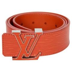 """Louis Vuitton Orange Epi Leather Initiales LV Logo Belt Sz 85cm /34"""""""