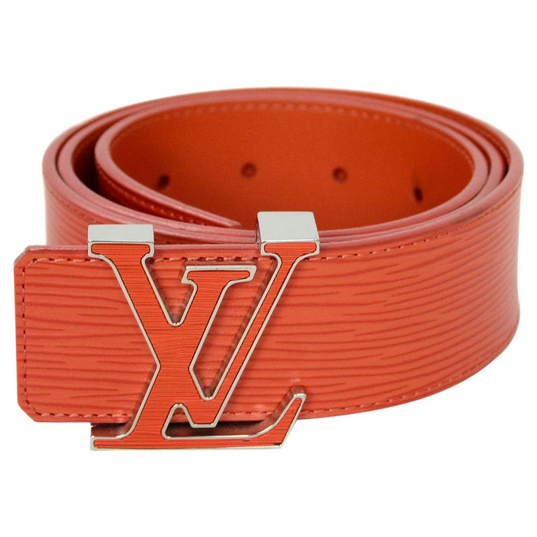 Louis Vuitton Orange Epi Leather Initiales Lv Logo Belt Sz