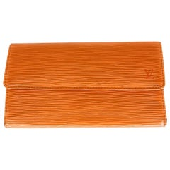 Louis Vuitton Orange EPI Leather Porte Tresor International Wallet