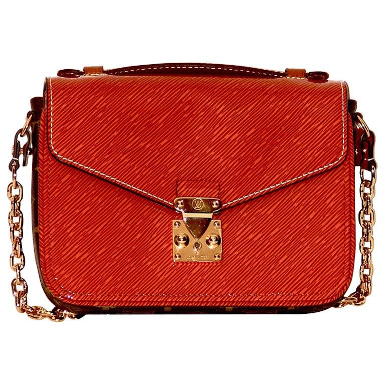 Louis Vuitton Orange Gold Patent Epi Leather Mini Pochette Metis  For Sale